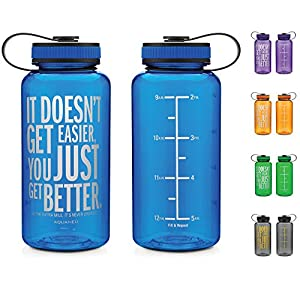 AQUANEÜ 34oz Inspirational Fitness Workout Sports Water Bottle with Time Marker | Measurements | Goal Marked Times for Measuring Your H2O Intake, BPA Free Non-Toxic Tritan 34oz