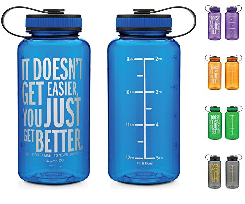 34oz Inspirational Fitness Workout Sports Water Bottle with Time Marker | Measurements | Goal Marked Times For Measuring Your H2O Intake, BPA Free Non-toxic Tritan 34oz
