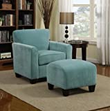 Park Avenue Turquoise Blue Velvet Traditional Arm Chair and Ottoman For Sale