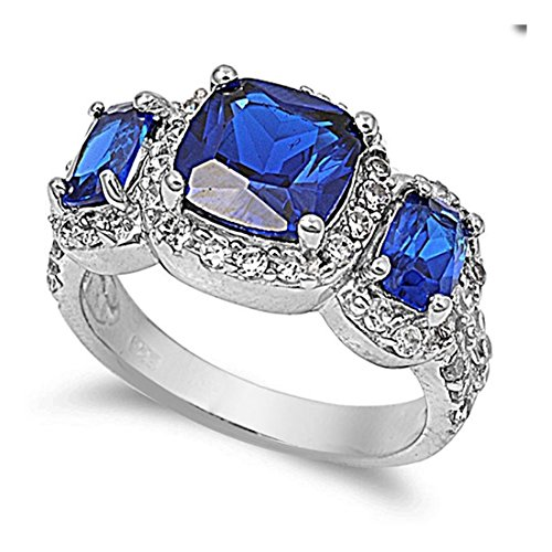 Halo Moon of 3 Stone Ring Princess Cut Square Radiant Cut Simulated Sapphire Round CZ 925 Sterling Silver ()
