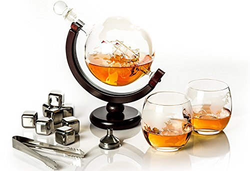 Whiskey Decanter Globe set with 2 etched Globe Whiskey Glasses & 8 stainless steel Whiskey Stones - for Vodka, Scotch, Liquor, Bourbon, Whiskey and Wine - 850ml Gift Set - Golden Moose