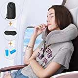 Forsuvida Travel Pillow Neck Pillow with Memory Foam and Soft Cover On Airplane Train with Eye Mask, Ear Plugs and Traveler Bag