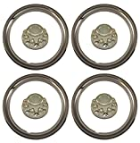 Set of 4 - PHOENIX 1603, QT865CHN-x4, for 16'' Wheel with Eight 7/8'' Lug Nuts on 6.5'' Bolt Circle, ABS CHROME TRAILER WHEEL RING & HUB CAP