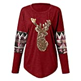 ZOMUSAR Womens Christmas Tops Sequin Reindeer