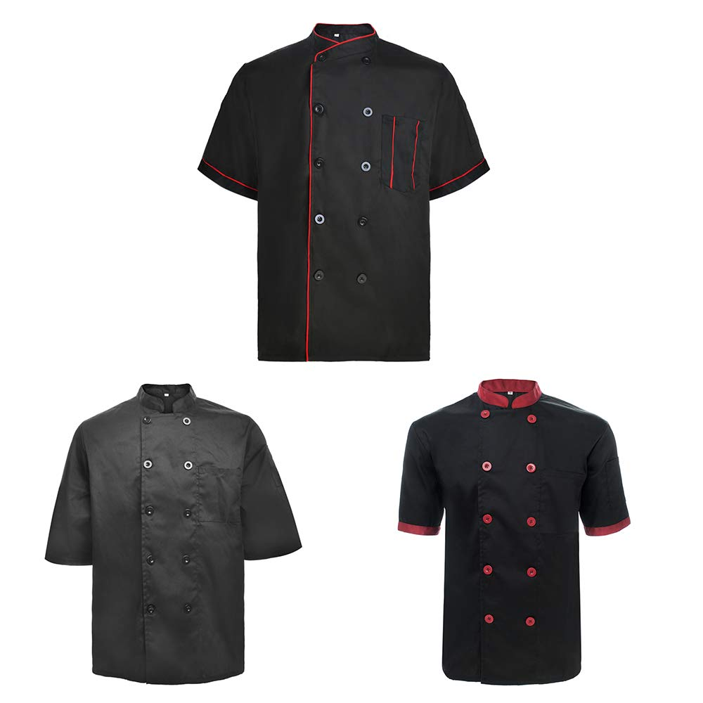 TopTie 3 Pack Men & Women Short Sleeve Chef Coat Jacket-SET8-XL