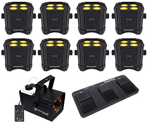 (8) Chauvet DJ Ezlink Par Q4 BT Wireless Bluetooth Lights+Footswitch+LED Fogger -