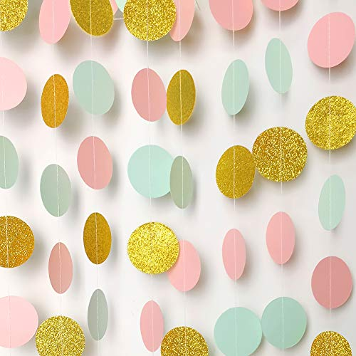 Paper Garland Circle Dots Streamer Backdrop Hanging Decorations for Birthday Baby Shower Wedding Decor - 5 Pack, 6.6 Feet Each (Pink,Mint,Gold) -