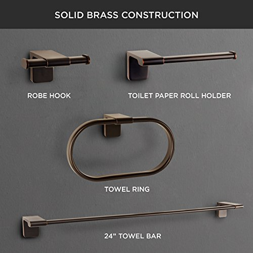 MAYKKE Dash 4-Piece Bathroom Essentials Hardware Accessory Set | 24'' Towel Bar, Double Robe Towel Hook, Towel Ring, & Toilet Paper Holder | 3 Colors to Choose From | Oil-Rubbed Bronze, DLA1002493 by Maykke (Image #2)