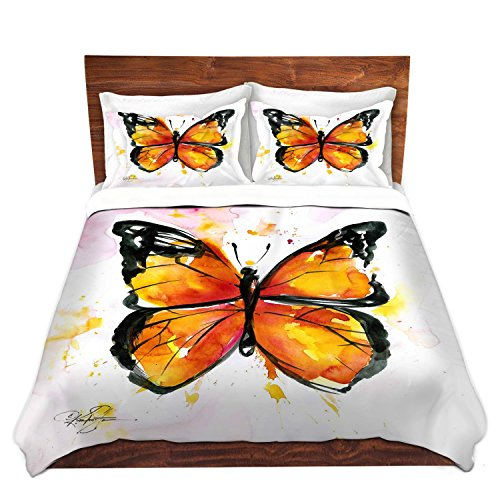 DiaNoche Designs Kathy Stanion Monarch Butterfly Unique Bedding Ideas Cover Brushed Twill Twin, Queen, 8 King Duvet Sham Set