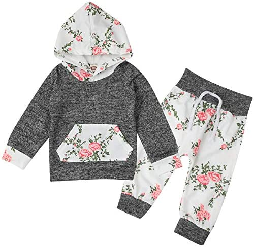 Baby Infant Girl Clothes Long Sleeve Hoodie Sweatshirt Floral PantsHeadband Outfit Sets