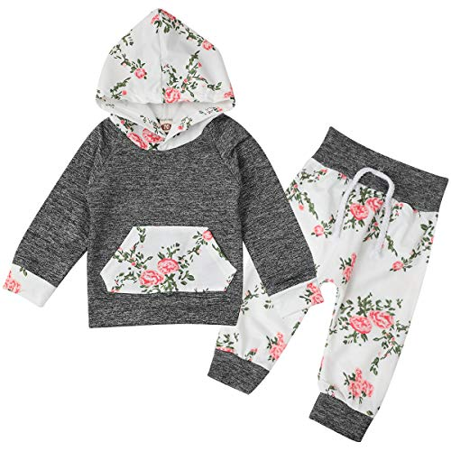 Newborn Kids Infant Hooded Sweatshirt Tops Floral Pants Baby Take Home Autumn Winter Outfits Gray
