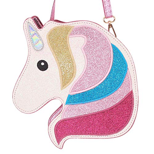 Unicorn Purse - HDE 3D Glitter Unicorn Crossbody Purse Bag for Teens Girls Women Novelty Handbag (Pink Unicorn)
