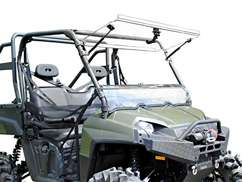 (SuperATV Heavy Duty Scratch Resistant 3-IN-1 Flip Windshield for Polaris Ranger Fullsize 570 / XP 800 / Crew 800/800 6x6 (See Fitment For Years) - Hard Coated For Long Life and Extreme Durability!)