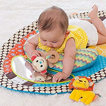 Tummy Time Activity Mat Baby Play Mat with Mirror Plush Pillow Stuffed Animals Toys