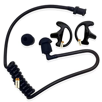 TCG Coiled Acoustic Tube with Earbud for Motorola Kenwood Earpiece Mic Headset