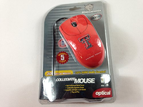 Collegiate University 3D Optical Mouse Wired Computer Laptop Right or Left Hand (Texas Tech)