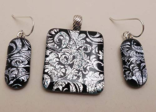 3 PC Feather pattern pendant earrings set fused dichroic glass Sterling silver bail & ear wires ()