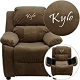 Flash BT-7985-KID-MIC-BRN-EMB-GG EMB Brown MIC Kids Recliner