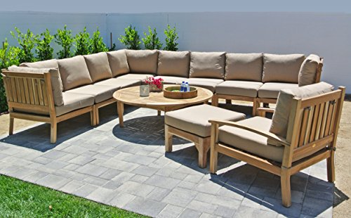 Outdoor Coal Fabric (Willow Creek Designs 11 Piece Huntington Sectional Seating Group with 52