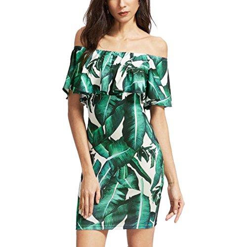 (Hankyky Off Shoulder Women Dresses Banana Leaves Short Sleeve Mini Dress Green S-XL)
