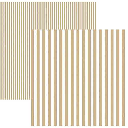 Kit Folhas para Scrapbook Básico Listras Café com Leite, Toke e Crie KFSB447, Multicor, Pacote de 12