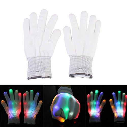 Wheelchair Motorcycle Costume (LED Gloves,Halloween LED Skeleton Gloves Sequin Lighting Fingers Light Up Rave Gloves In The Dark Novelty Christmas Gift)