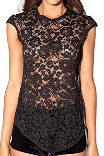 Dantiya Women's Lace Flora Crochet Sleeveless See Through Vest Shirts Tops (L, Black)