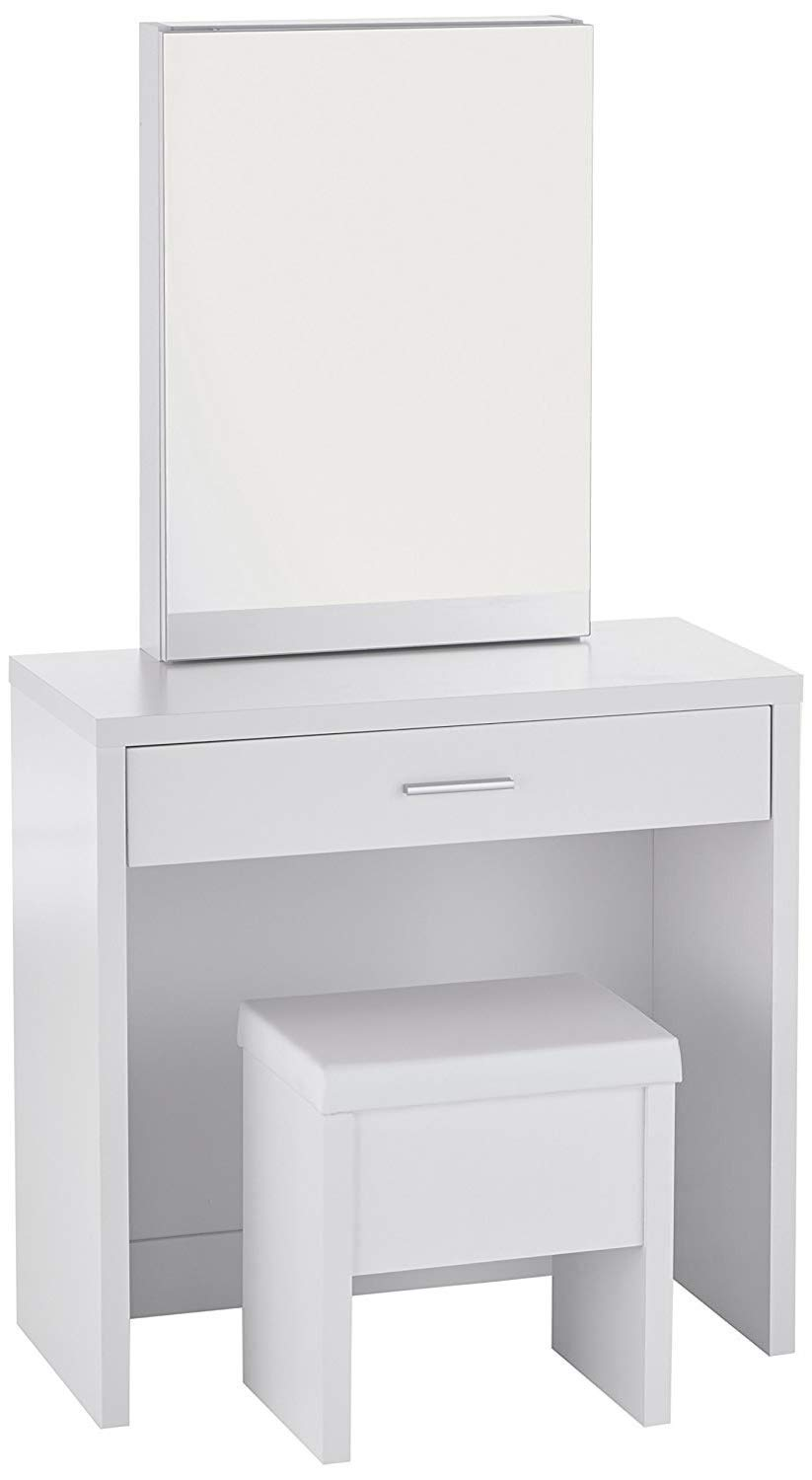 Modern Vanity Set with Mirror and Stool – Perfect Piece of Furniture for Your Bedroom – Durable Makeup Table Organizer – Available in White or Brown Finish White