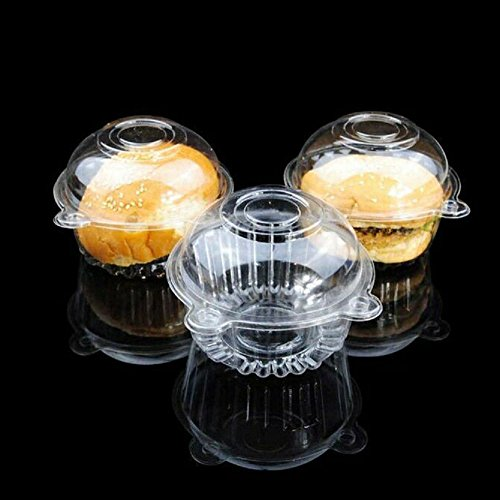 CYFELLBIU 100 pieces of plastic single cup cake muffin dome box box cup pod (Cupcake Box 100 Single)