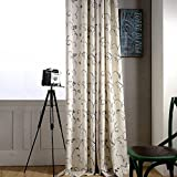 KoTing Cream White Cotton Linen Modern Simple Style Grey Branches Leaves Curve Pattern Embroidery Thermal Insulated Blackout Lined Curtains Drapes Grommet Top,1 Panel,42W by 84L-Inch