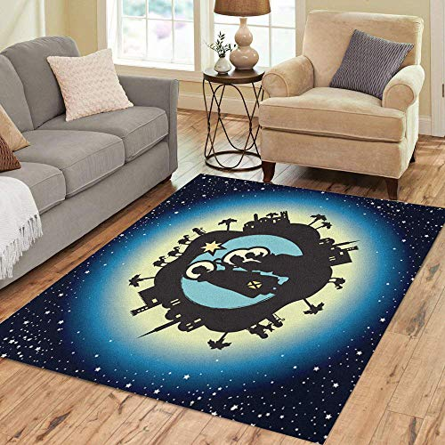 (Semtomn Area Rug 3' X 5' Blue Advent Nativity Christmas in Starry Bethlehem Camels Celebrate Home Decor Collection Floor Rugs Carpet for Living Room Bedroom Dining Room)