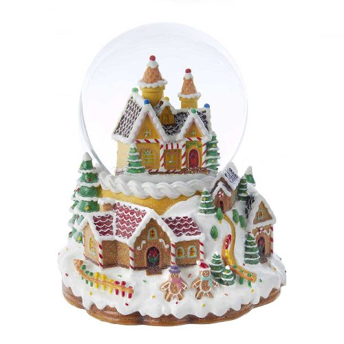 Kurt Adler Battery Operated Musical Light-Up Snowing Candy House Water Ball Globe, 120mm by Kurt Adler