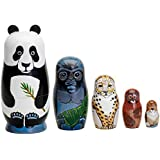 """Bits and Pieces - Nesting Endangered Species-Hand Painted Wooden Nesting Dolls - Set of 5 Dolls From 5.5"""" Tall"""