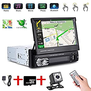 "Podofo 8 IR CCD Mini Car Rear View + Camera Car Stereo with Bluetooth 7"" Touchscreen 1DIN In-Dash Car MP5 Bluetooth Player Radio Stereo Head Unit GPS Sat Nav BT EU Map"