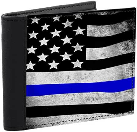Snaptotes Thin Blue Line American Flag in Support of Police and Law Enforcement Manufactured in USA Mens Wallet
