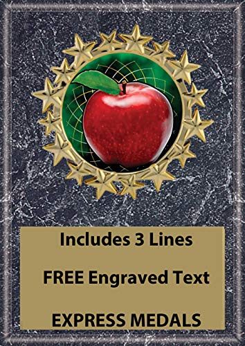 Express Medals 5x7 Teacher Apple Plaque Award Trophy with Engraved Plate Black Marble Color ()