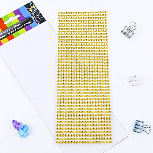 Rhinestone Stickers 10 Sheets, 8800 Pcs 4mm Acrylic Self-Adhesive Bling Craft Jewels Crystal Colorful DIY Gem Stickers, Ideal for Face,Nail,Makeup,Festival,Carnival,Crafts & ()
