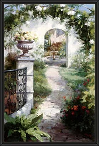 35in x 24in Flowered Archway by Haibin - Black Floater Framed Canvas w/ BRUSHSTROKES