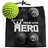 Home Gym Hero Massage Ball Set Of 3 with pdf User Guide | Spiky, Smooth & Peanut Shaped Physical Therapy Lacrosse Balls | Ideal For Muscle Soreness, Back & Foot Pain Relief, Yoga, Myofascial Release
