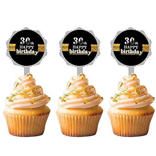 12PCS JeVenis 30th Birthday Cake Topper Hello 30 Cake Topper 30th Birthday Wedding Anniversary Party Sign Decorations 30th Birthday Party Decoration -