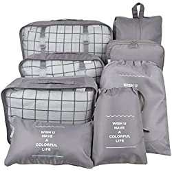 8 Set Packing Organizer,Waterproof Mesh Travel Luggage Packing Cubes with Laundry Bag Shoes Bag Grey