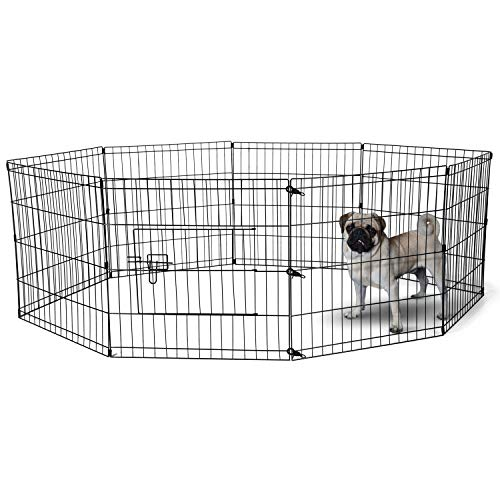 Dog Exercise Pen Pet Playpens for Small Dogs - Puppy Playpen Outdoor Back or Front Yard Fence Cage Fencing Doggie Rabbit Cats Playpens Outside Fences with Door - 24 Inch Metal Wire 8-Panel Foldable ()