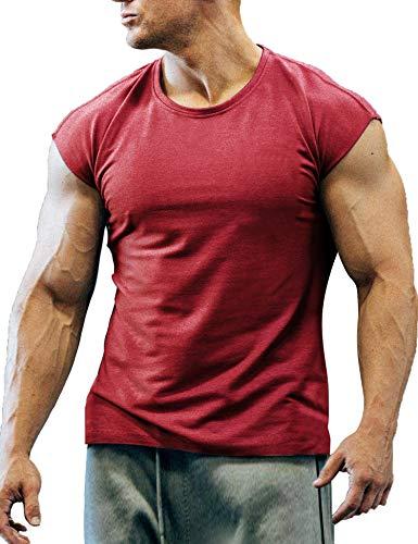 COOFANDY Men's Gym Workout T Shirt Short Sleeve Muscle Cut Bodybuilding Training Fitness Tee Tops (Medium, 02-Wine Red) - T-shirt Gym Workout