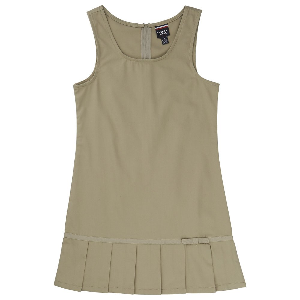 French Toast Little Girls' Toddler Pleated Hem Jumper with Ribbon, Khaki, 3T
