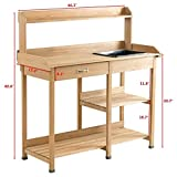 Potting Table Bench Outdoor Indoor Work Station Garden Planting Wood Shelves for Picnic Shelf
