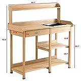 Potting Table Bench Outdoor Indoor Work Station Garden Planting Wood Shelves for Picnic Shelf