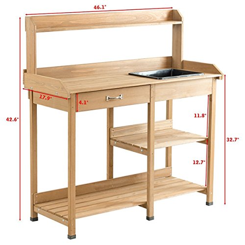 Giantex Potting Bench Table Wood Potting Bench for Garden Plant Lawn Patio Indoor Outdoor Workstation Flower Pot Bench w/Sink Drawer Hooks Open Shelves by Giantex (Image #3)