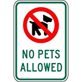 ComplianceSigns Vinyl Pets / Pet Waste label, Reflective 18 x 12 in. with No Pets Allowed info in English, White