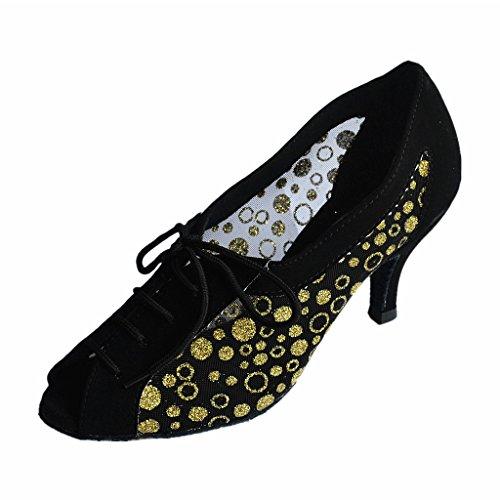 Jig Foo Latin Salsa Rumba ChaCha Praxis Ballroom Dance Schuhe für Frauen gold spot