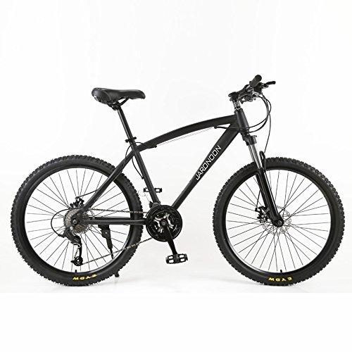 26×18大型フレームMTB自転車、21/27スピードマウンテンバイク、ダブルディスクブレーキ、ロック可能サスペンションフォーク B07BK51SS7 27 速|黒 黒 27 速